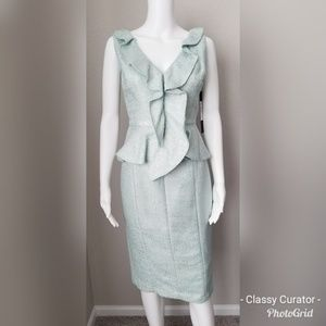 NWT Badgley Mischka mint peplum sheath dress.